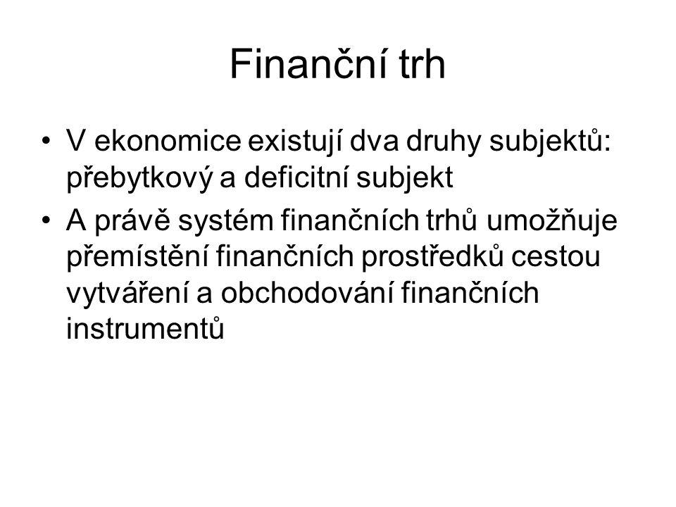 V ekonomice existují dva druhy subjektů: přebytkový a deficitní subjekt A právě systém finančních trhů umožňuje přemístění finančních prostředků cesto