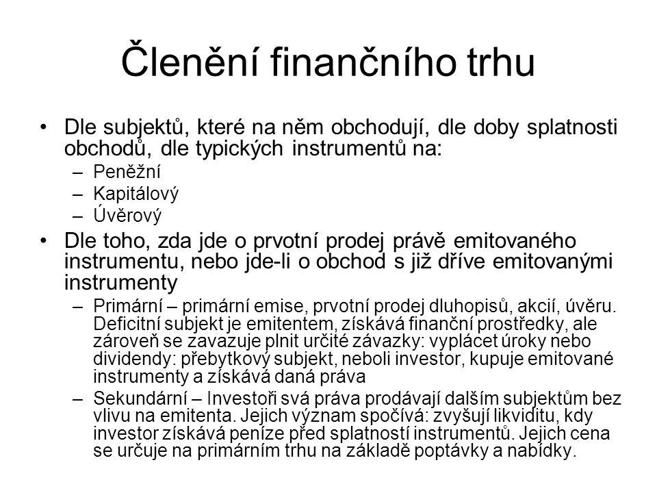 Členění finančního trhu Dle subjektů, které na něm obchodují, dle doby splatnosti obchodů, dle typických instrumentů na: –Peněžní –Kapitálový –Úvěrový