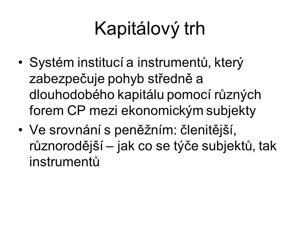 Kapitálový trh Systém institucí a instrumentů, který zabezpečuje pohyb středně a dlouhodobého kapitálu pomocí různých forem CP mezi ekonomickým subjek