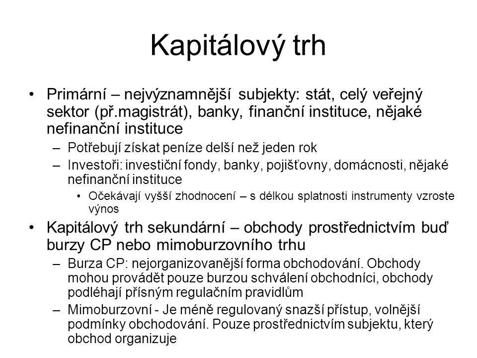 Kapitálový trh Primární – nejvýznamnější subjekty: stát, celý veřejný sektor (př.magistrát), banky, finanční instituce, nějaké nefinanční instituce –P