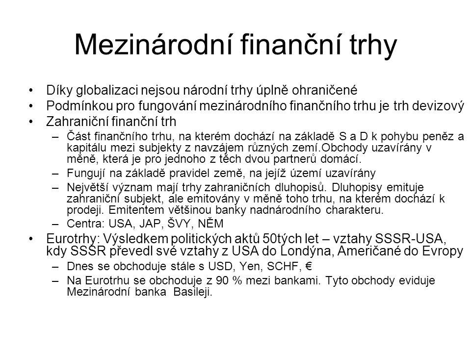 Mezinárodní finanční trhy Díky globalizaci nejsou národní trhy úplně ohraničené Podmínkou pro fungování mezinárodního finančního trhu je trh devizový