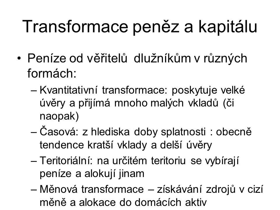Transformace peněz a kapitálu Peníze od věřitelů dlužníkům v různých formách: –Kvantitativní transformace: poskytuje velké úvěry a přijímá mnoho malýc