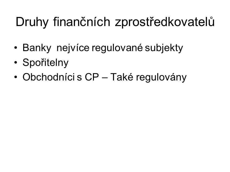 Druhy finančních zprostředkovatelů Banky nejvíce regulované subjekty Spořitelny Obchodníci s CP – Také regulovány