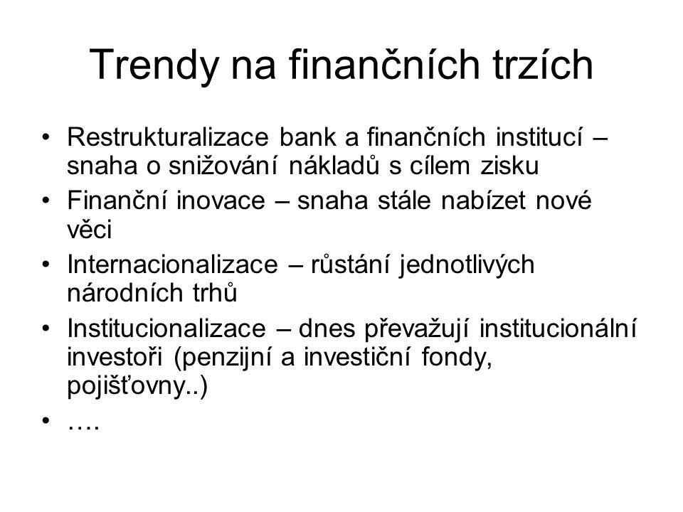 Trendy na finančních trzích Restrukturalizace bank a finančních institucí – snaha o snižování nákladů s cílem zisku Finanční inovace – snaha stále nab