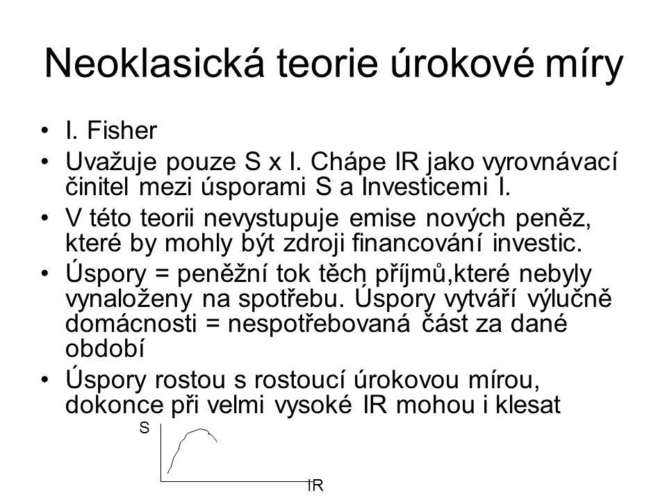 Neoklasická teorie úrokové míry I. Fisher Uvažuje pouze S x I. Chápe IR jako vyrovnávací činitel mezi úsporami S a Investicemi I. V této teorii nevyst