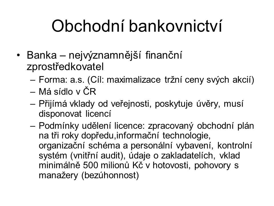 Obchodní bankovnictví Banka – nejvýznamnější finanční zprostředkovatel –Forma: a.s. (Cíl: maximalizace tržní ceny svých akcií) –Má sídlo v ČR –Přijímá