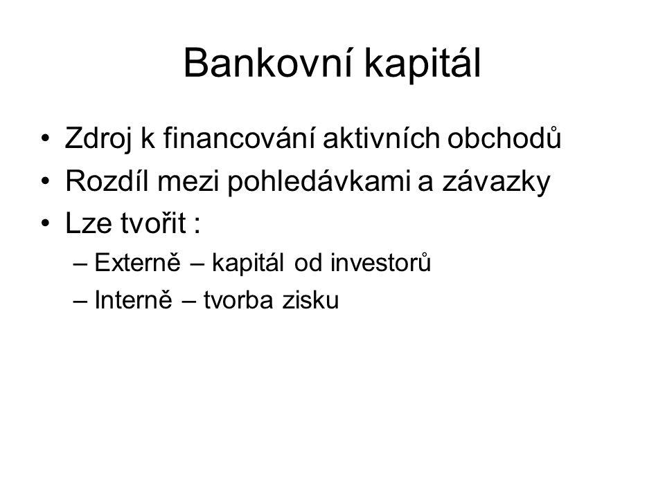 Bankovní kapitál Zdroj k financování aktivních obchodů Rozdíl mezi pohledávkami a závazky Lze tvořit : –Externě – kapitál od investorů –Interně – tvor