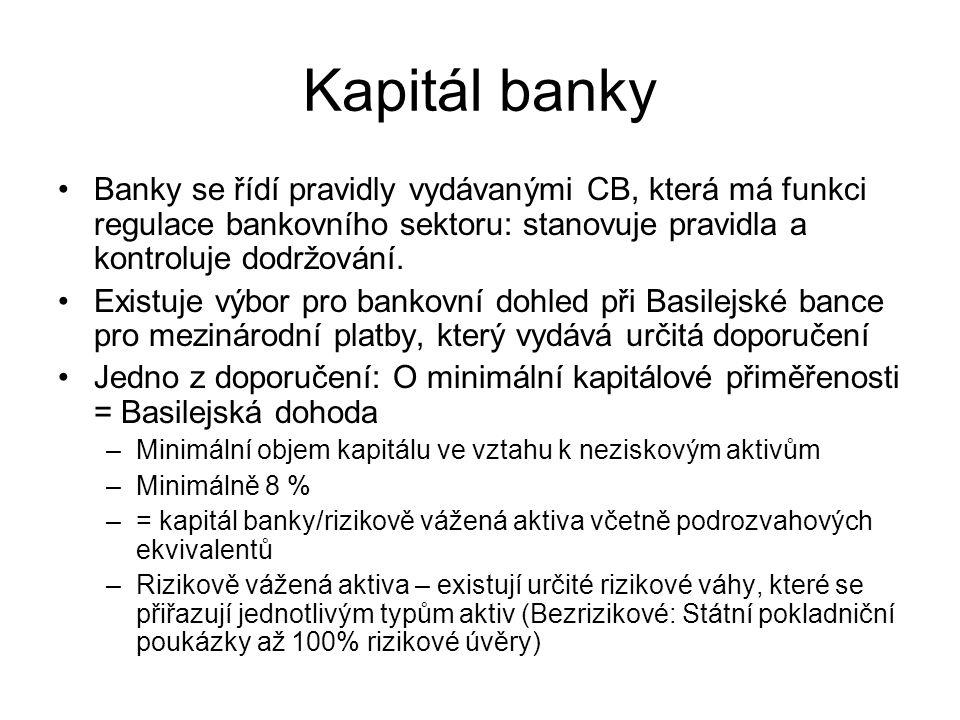 Kapitál banky Banky se řídí pravidly vydávanými CB, která má funkci regulace bankovního sektoru: stanovuje pravidla a kontroluje dodržování. Existuje