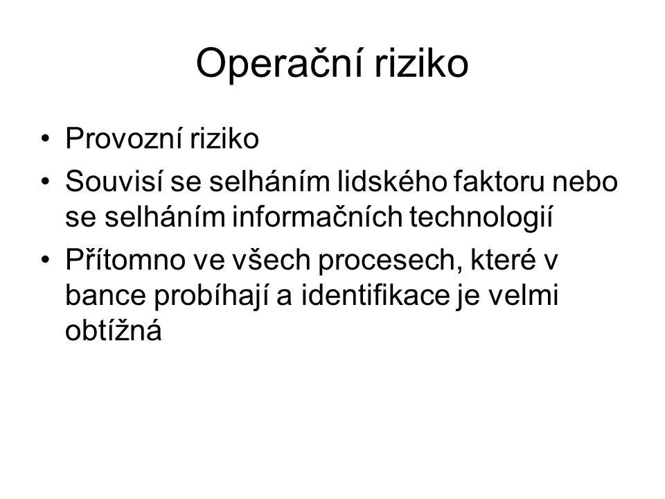 Operační riziko Provozní riziko Souvisí se selháním lidského faktoru nebo se selháním informačních technologií Přítomno ve všech procesech, které v ba