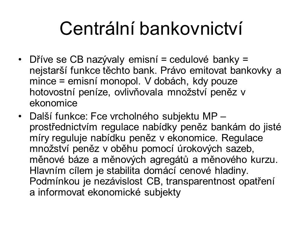 Centrální bankovnictví Dříve se CB nazývaly emisní = cedulové banky = nejstarší funkce těchto bank. Právo emitovat bankovky a mince = emisní monopol.