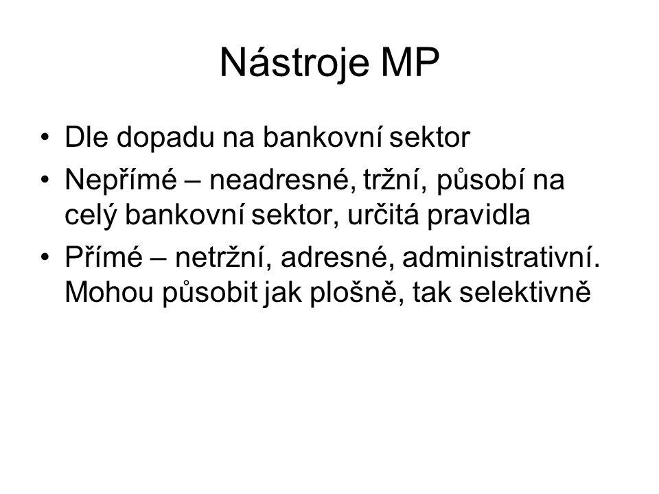 Nástroje MP Dle dopadu na bankovní sektor Nepřímé – neadresné, tržní, působí na celý bankovní sektor, určitá pravidla Přímé – netržní, adresné, admini