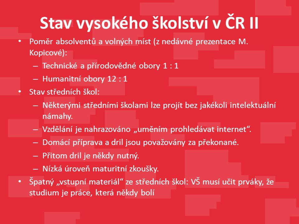 Stav vysokého školství v ČR II Poměr absolventů a volných míst (z nedávné prezentace M. Kopicové): – Technické a přírodovědné obory 1 : 1 – Humanitní
