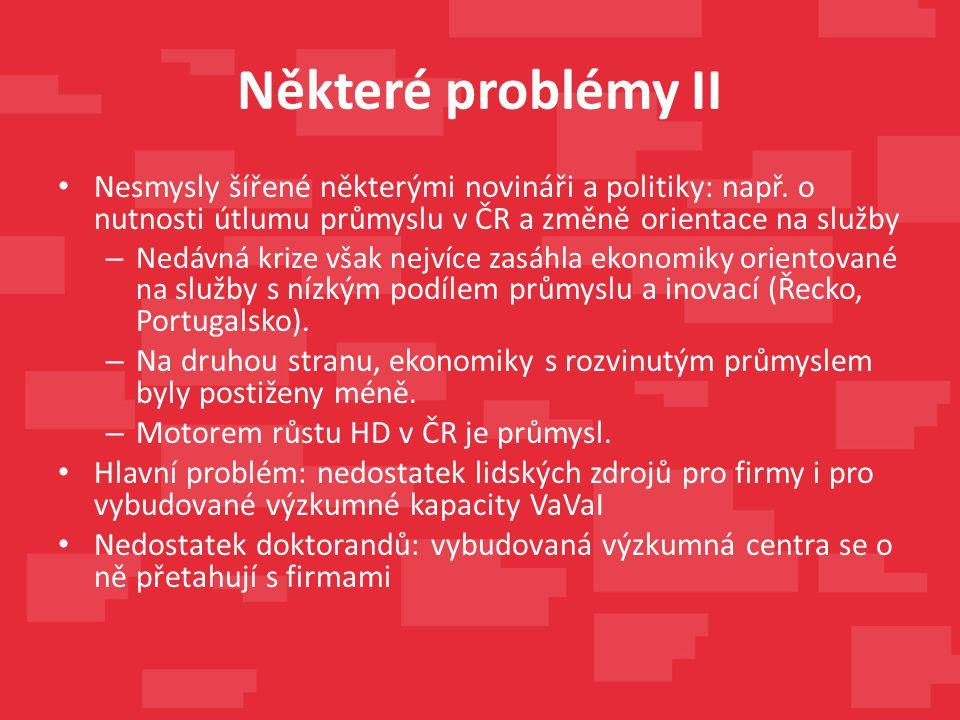 Některé problémy II Nesmysly šířené některými novináři a politiky: např. o nutnosti útlumu průmyslu v ČR a změně orientace na služby – Nedávná krize v