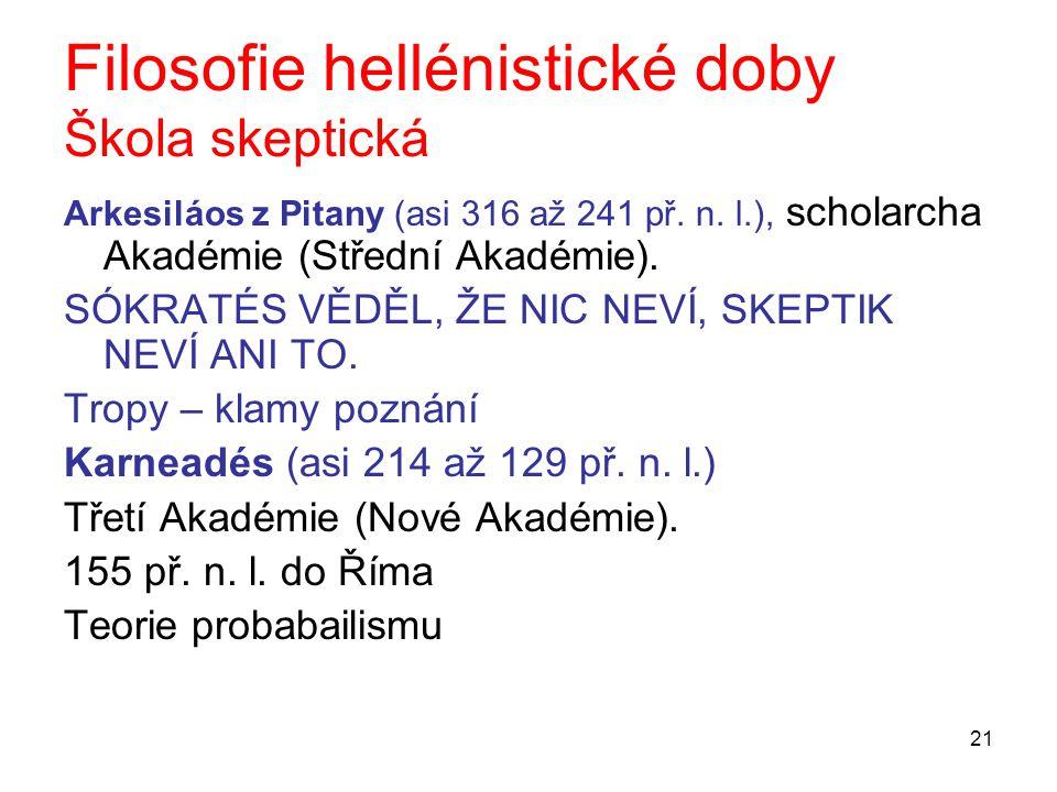 21 Filosofie hellénistické doby Škola skeptická Arkesiláos z Pitany (asi 316 až 241 př. n. l.), scholarcha Akadémie (Střední Akadémie). SÓKRATÉS VĚDĚL