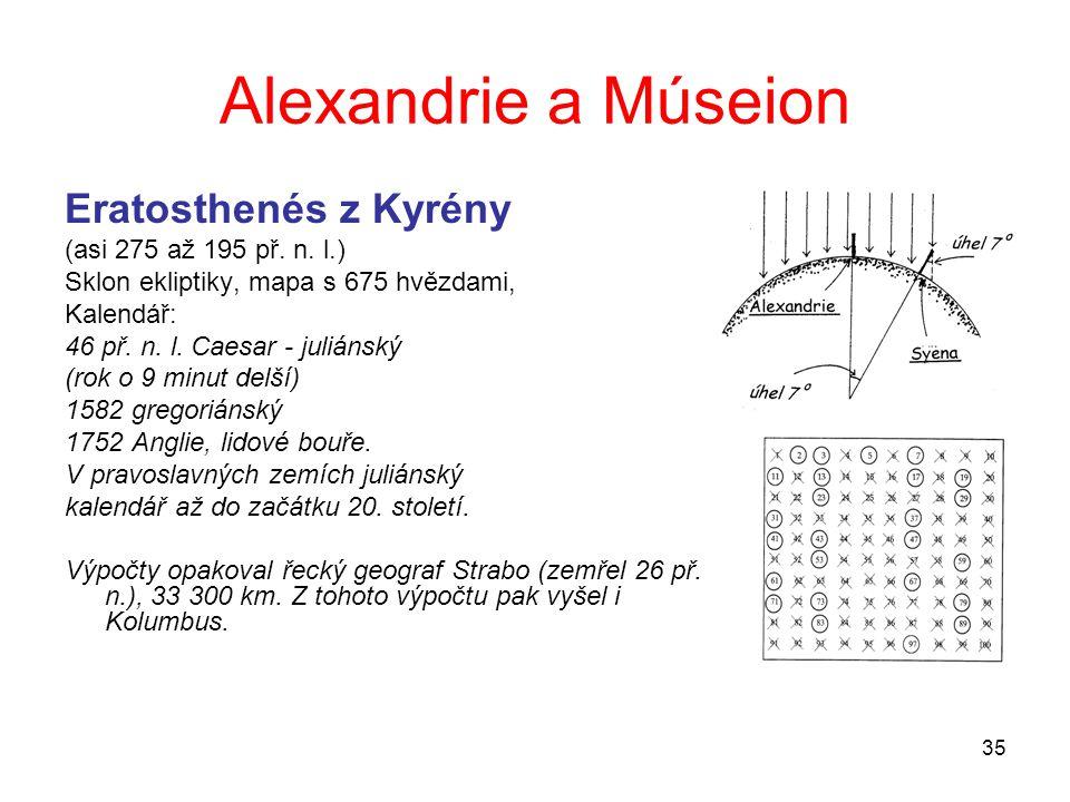 35 Alexandrie a Múseion Eratosthenés z Kyrény (asi 275 až 195 př. n. l.) Sklon ekliptiky, mapa s 675 hvězdami, Kalendář: 46 př. n. l. Caesar - juliáns