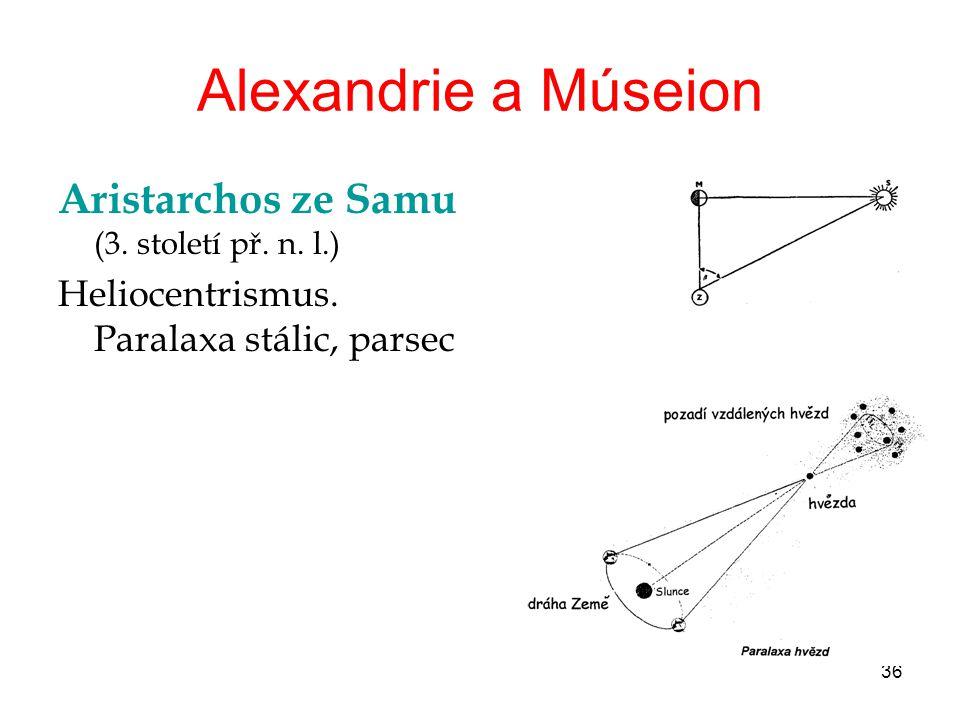 36 Alexandrie a Múseion Aristarchos ze Samu (3. století př. n. l.) Heliocentrismus. Paralaxa stálic, parsec