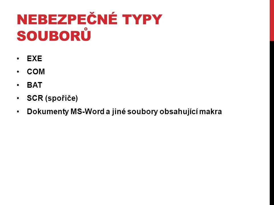 NEBEZPEČNÉ TYPY SOUBORŮ EXE COM BAT SCR (spořiče) Dokumenty MS-Word a jiné soubory obsahující makra