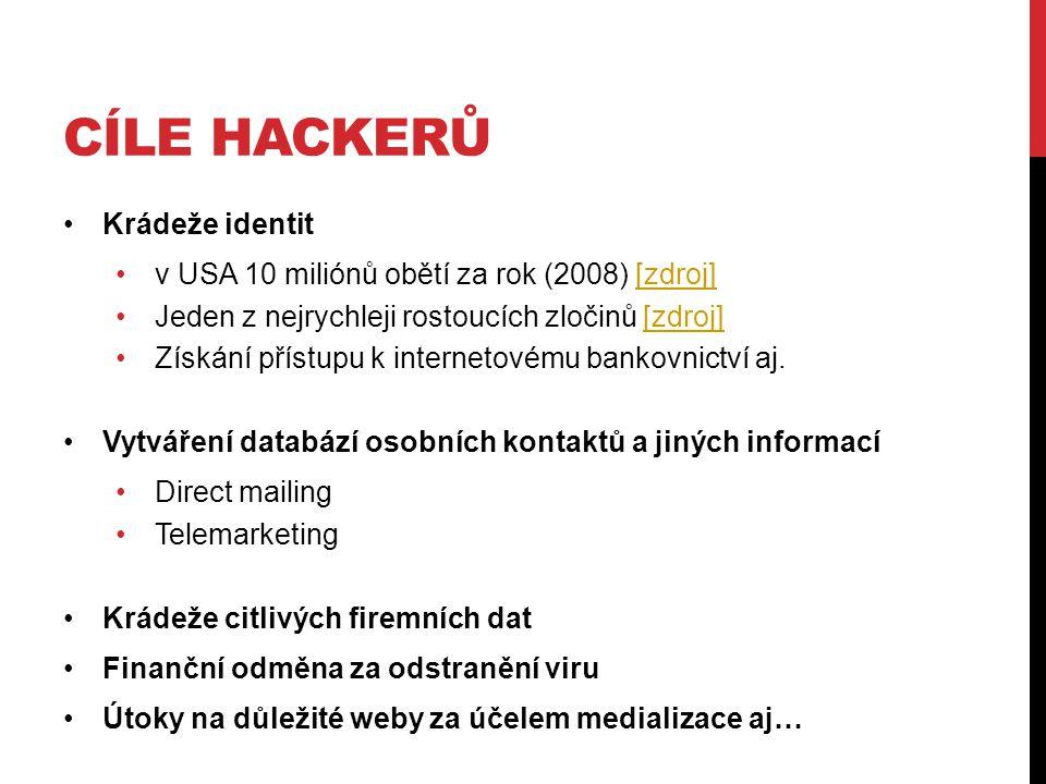 CÍLE HACKERŮ Krádeže identit v USA 10 miliónů obětí za rok (2008) [zdroj][zdroj] Jeden z nejrychleji rostoucích zločinů [zdroj][zdroj] Získání přístupu k internetovému bankovnictví aj.