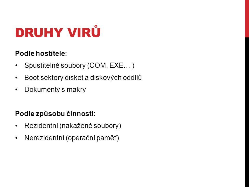DRUHY VIRŮ Podle hostitele: Spustitelné soubory (COM, EXE… ) Boot sektory disket a diskových oddílů Dokumenty s makry Podle způsobu činnosti: Rezident