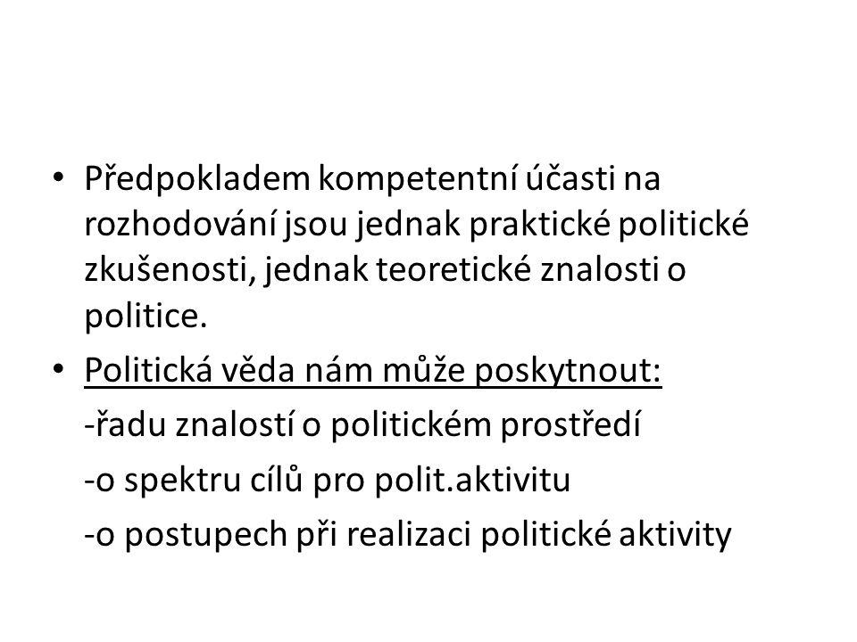 Předpokladem kompetentní účasti na rozhodování jsou jednak praktické politické zkušenosti, jednak teoretické znalosti o politice.
