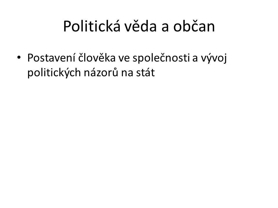 Politická věda a občan Postavení člověka ve společnosti a vývoj politických názorů na stát