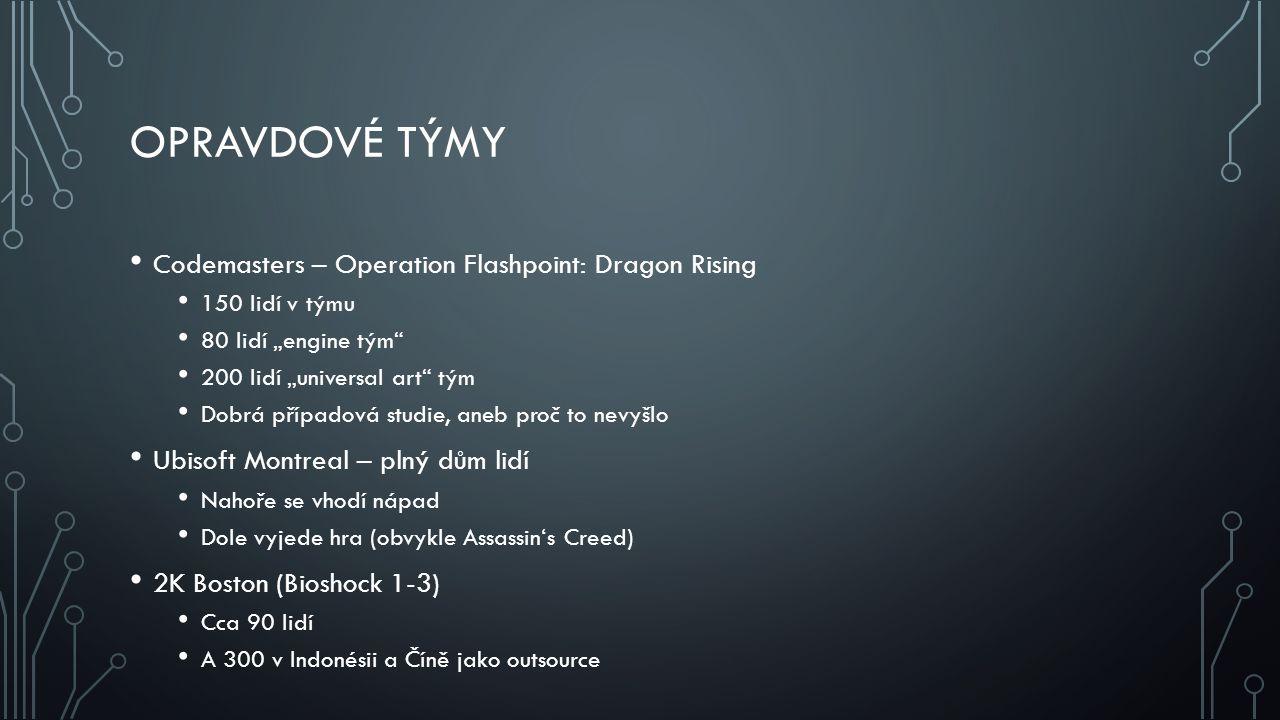 """OPRAVDOVÉ TÝMY Codemasters – Operation Flashpoint: Dragon Rising 150 lidí v týmu 80 lidí """"engine tým"""" 200 lidí """"universal art"""" tým Dobrá případová stu"""