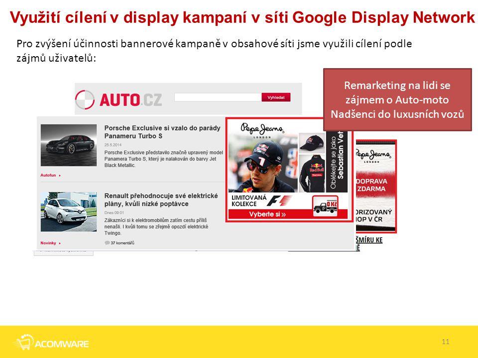 Využití cílení v display kampaní v síti Google Display Network Pro zvýšení účinnosti bannerové kampaně v obsahové síti jsme využili cílení podle zájmů
