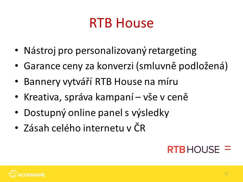 RTB House Nástroj pro personalizovaný retargeting Garance ceny za konverzi (smluvně podložená) Bannery vytváří RTB House na míru Kreativa, správa kamp