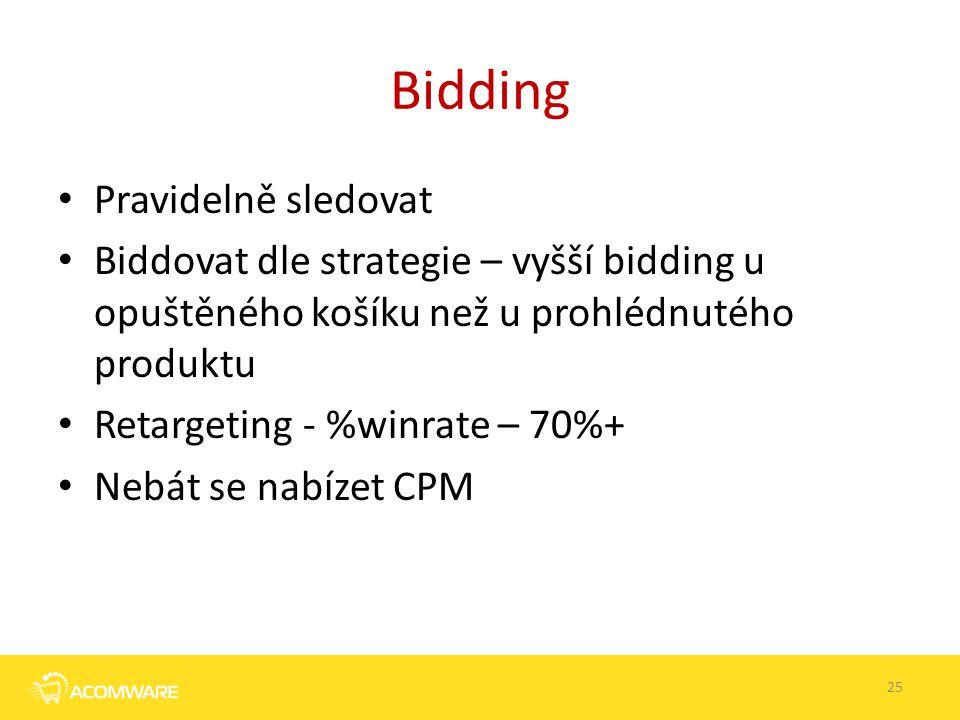 Bidding Pravidelně sledovat Biddovat dle strategie – vyšší bidding u opuštěného košíku než u prohlédnutého produktu Retargeting - %winrate – 70%+ Nebá