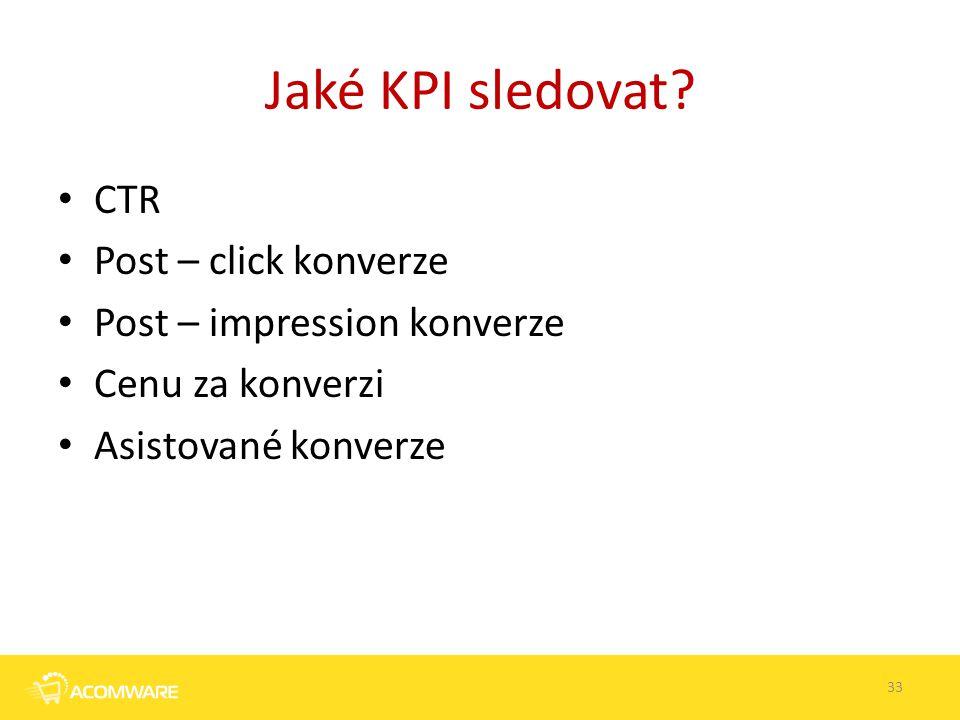Jaké KPI sledovat? CTR Post – click konverze Post – impression konverze Cenu za konverzi Asistované konverze 33