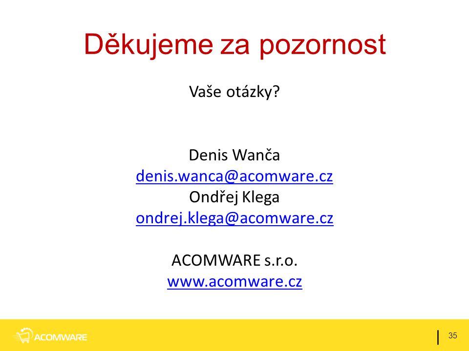 Děkujeme za pozornost Vaše otázky? Denis Wanča denis.wanca@acomware.cz Ondřej Klega ondrej.klega@acomware.cz ACOMWARE s.r.o. www.acomware.cz 35 |