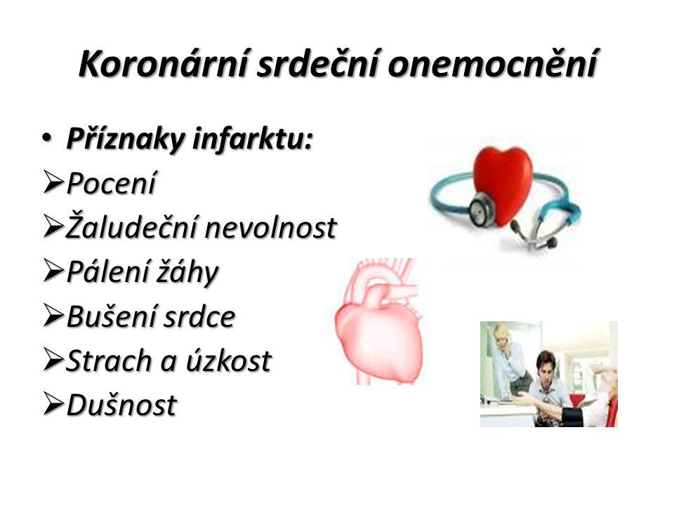 Koronární srdeční onemocnění Příznaky infarktu: Příznaky infarktu:  Pocení  Žaludeční nevolnost  Pálení žáhy  Bušení srdce  Strach a úzkost  Dušnost