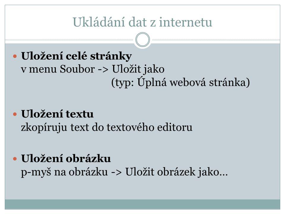 Ukládání dat z internetu Uložení celé stránky v menu Soubor -> Uložit jako (typ: Úplná webová stránka) Uložení textu zkopíruju text do textového edito