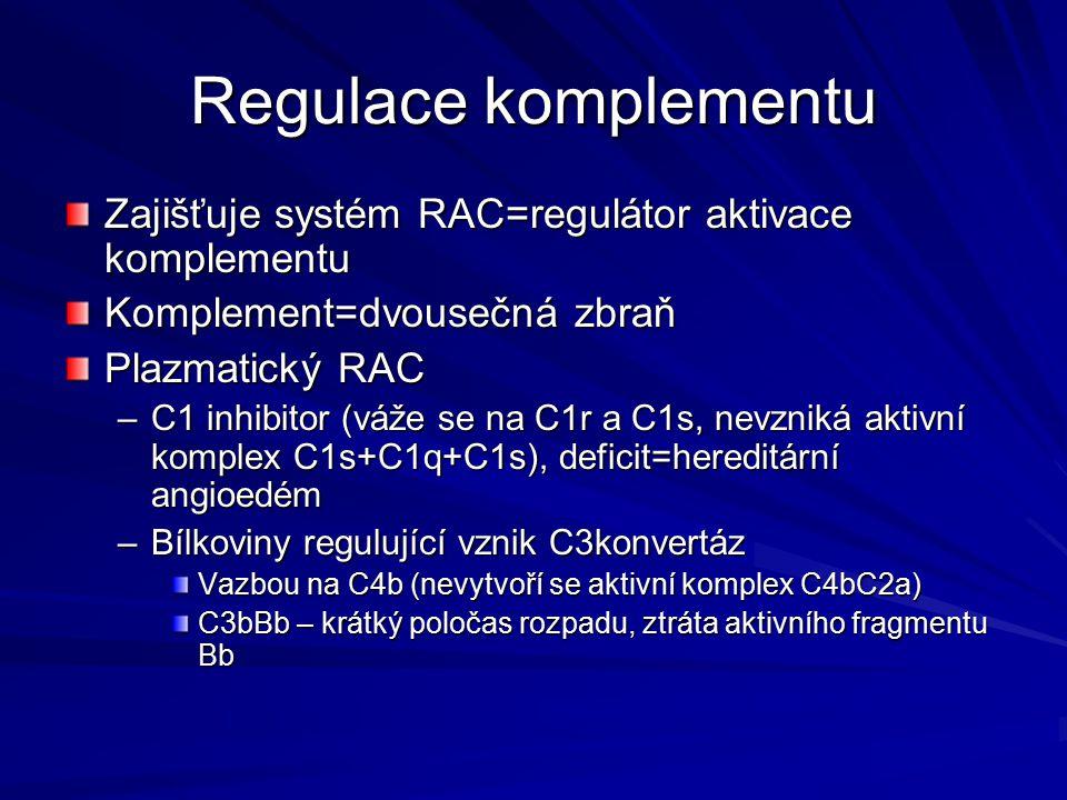 Regulace komplementu Zajišťuje systém RAC=regulátor aktivace komplementu Komplement=dvousečná zbraň Plazmatický RAC –C1 inhibitor (váže se na C1r a C1