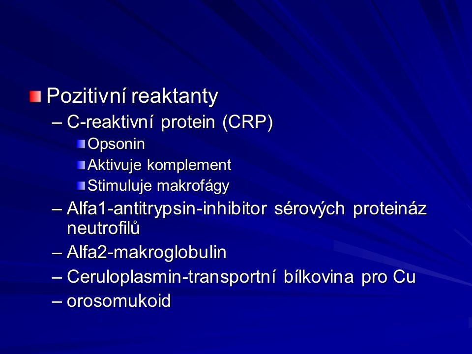 Pozitivní reaktanty –C-reaktivní protein (CRP) Opsonin Aktivuje komplement Stimuluje makrofágy –Alfa1-antitrypsin-inhibitor sérových proteináz neutrof