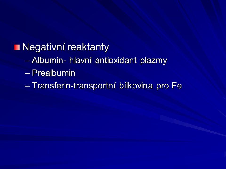 Negativní reaktanty –Albumin- hlavní antioxidant plazmy –Prealbumin –Transferin-transportní bílkovina pro Fe