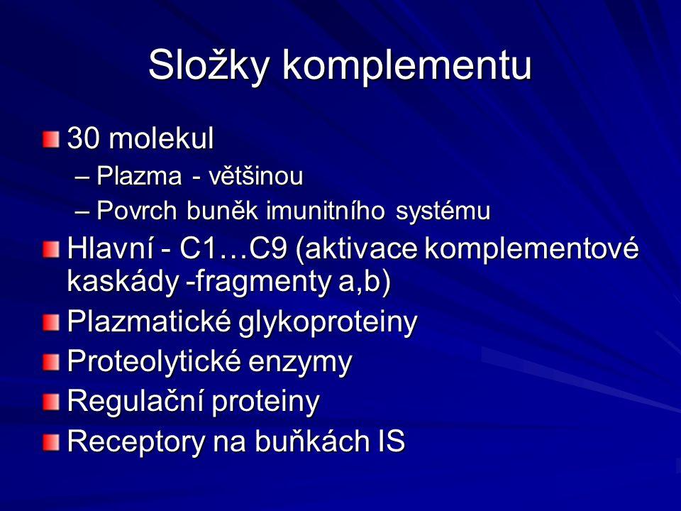 Složky komplementu 30 molekul –Plazma - většinou –Povrch buněk imunitního systému Hlavní - C1…C9 (aktivace komplementové kaskády -fragmenty a,b) Plazm