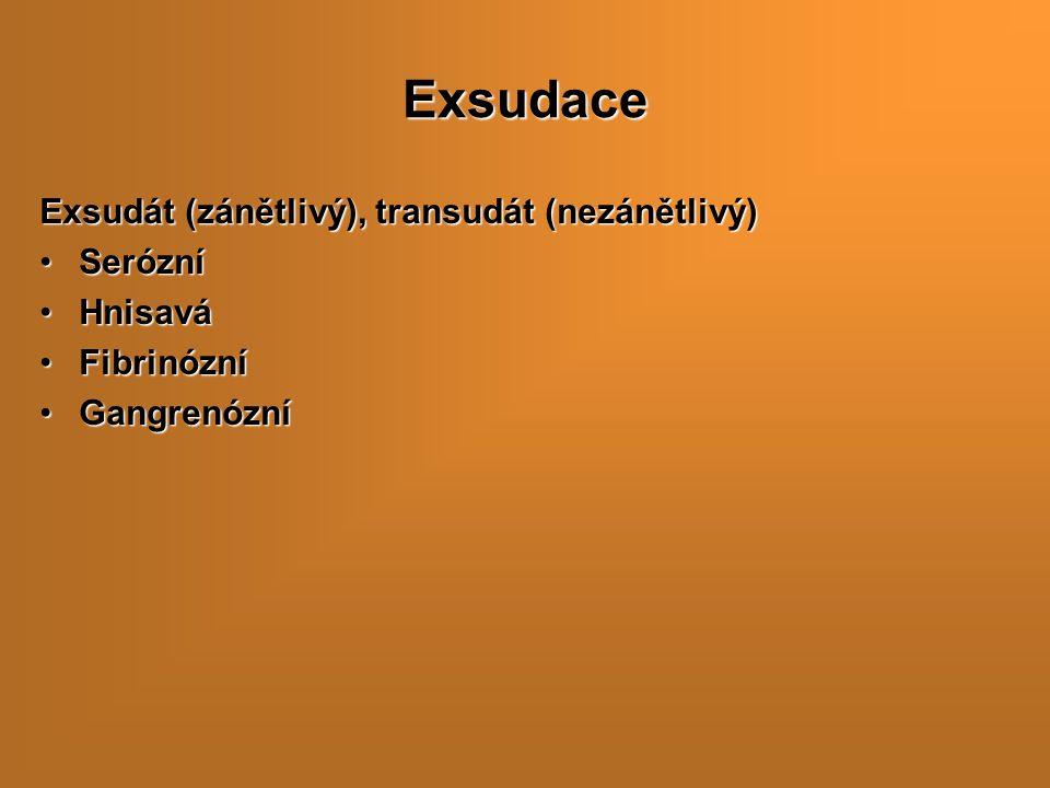 Exsudace Exsudát (zánětlivý), transudát (nezánětlivý) SerózníSerózní HnisaváHnisavá FibrinózníFibrinózní GangrenózníGangrenózní