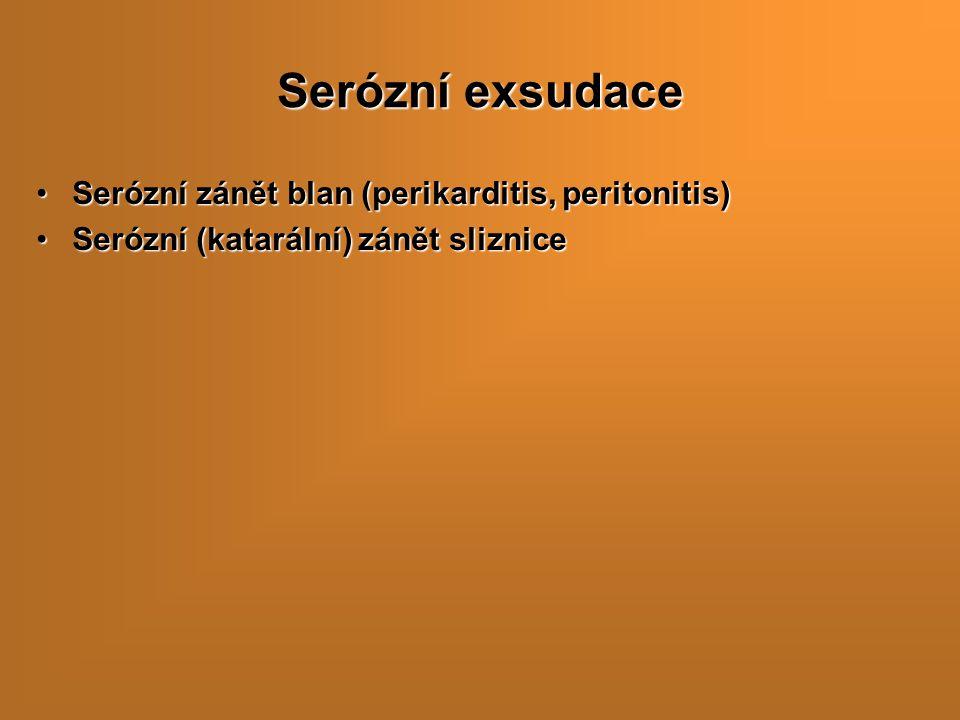 Serózní exsudace Serózní zánět blan (perikarditis, peritonitis)Serózní zánět blan (perikarditis, peritonitis) Serózní (katarální) zánět slizniceSerózní (katarální) zánět sliznice