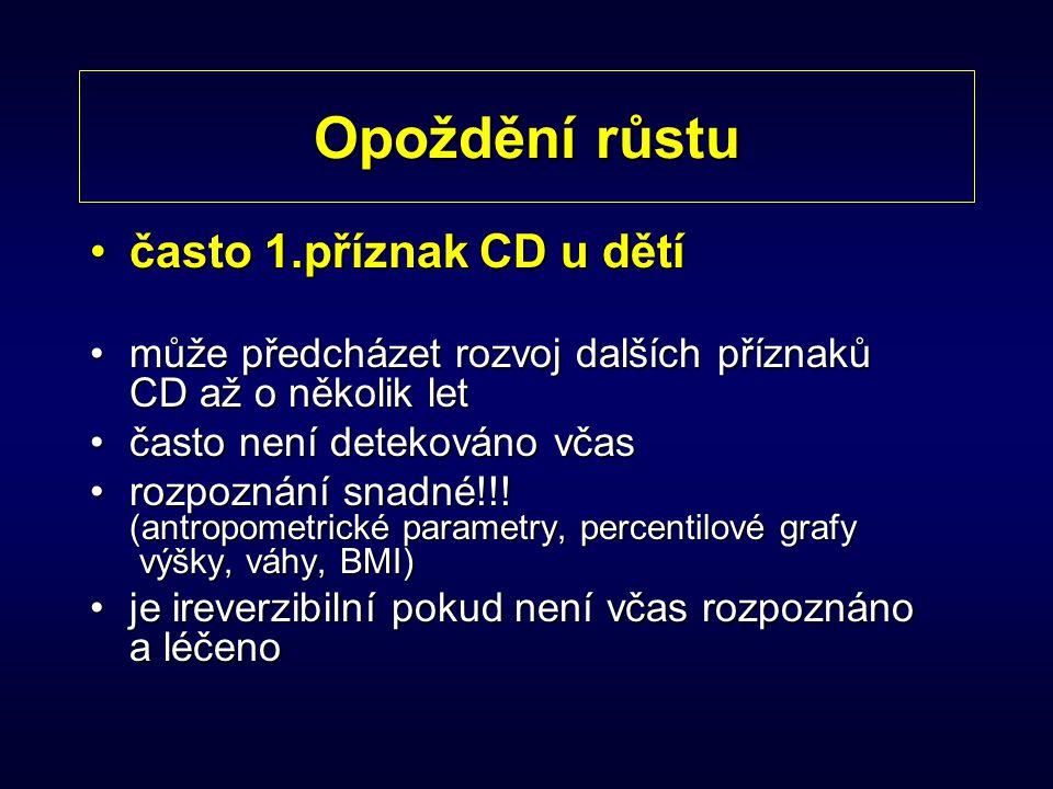 Opoždění růstu často 1.příznak CD u dětíčasto 1.příznak CD u dětí může předcházet rozvoj dalších příznaků CD až o několik letmůže předcházet rozvoj da