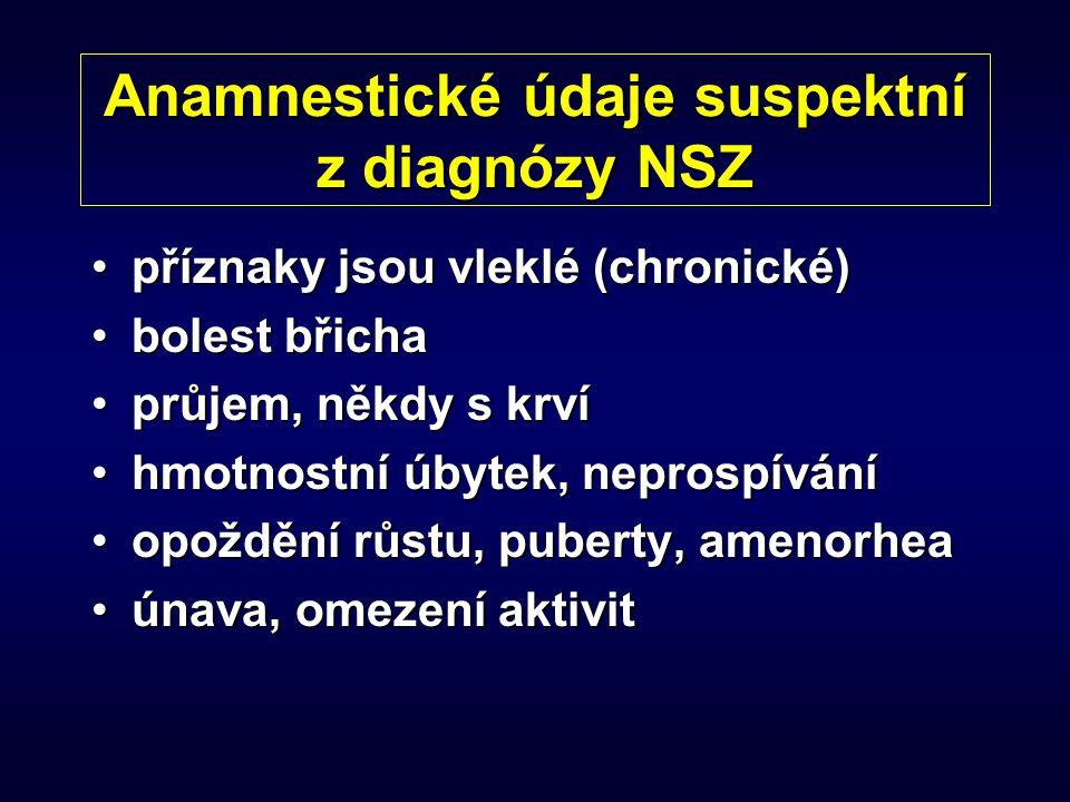 Anamnestické údaje suspektní z diagnózy NSZ příznaky jsou vleklé (chronické)příznaky jsou vleklé (chronické) bolest břichabolest břicha průjem, někdy