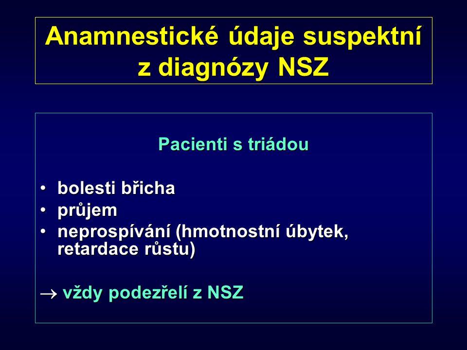 Anamnestické údaje suspektní z diagnózy NSZ Pacienti s triádou bolesti břichabolesti břicha průjemprůjem neprospívání (hmotnostní úbytek, retardace rů