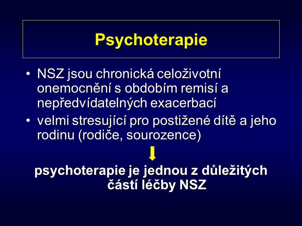 Psychoterapie NSZ jsou chronická celoživotní onemocnění s obdobím remisí a nepředvídatelných exacerbacíNSZ jsou chronická celoživotní onemocnění s obd