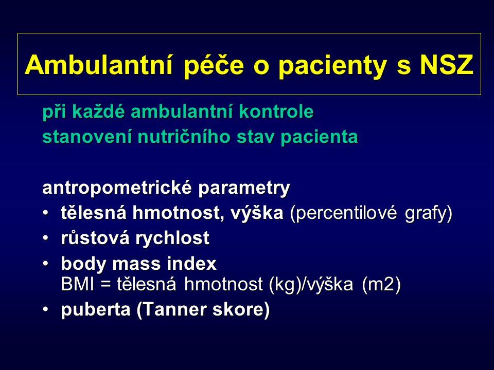 Ambulantní péče o pacienty s NSZ při každé ambulantní kontrole stanovení nutričního stav pacienta antropometrické parametry tělesná hmotnost, výška (p