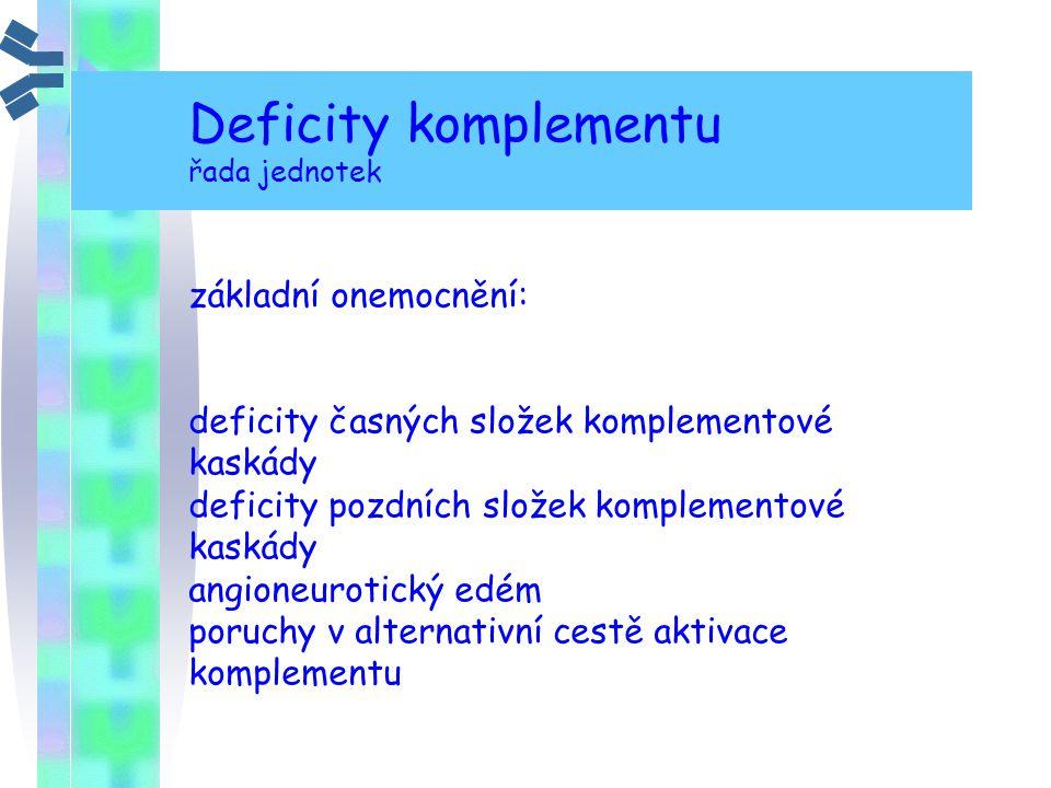 Deficity komplementu řada jednotek základní onemocnění: deficity časných složek komplementové kaskády deficity pozdních složek komplementové kaskády a