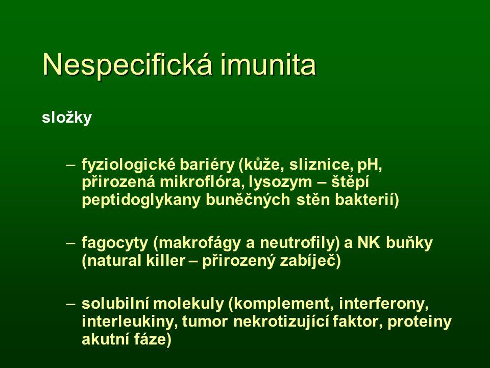 složky –fyziologické bariéry (kůže, sliznice, pH, přirozená mikroflóra, lysozym – štěpí peptidoglykany buněčných stěn bakterií) –fagocyty (makrofágy a
