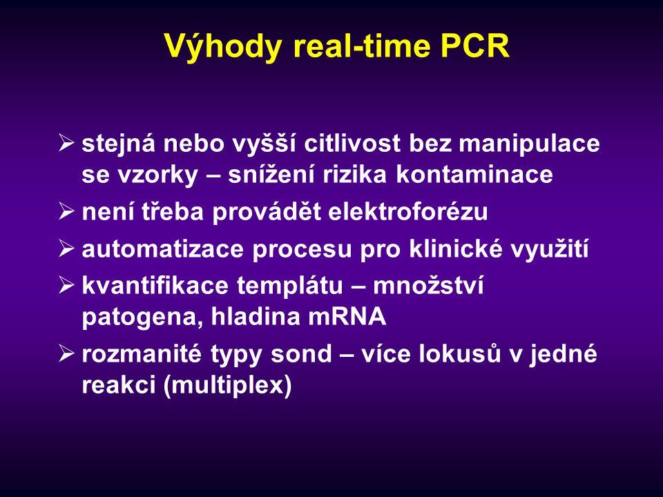 Výhody real-time PCR  stejná nebo vyšší citlivost bez manipulace se vzorky – snížení rizika kontaminace  není třeba provádět elektroforézu  automat