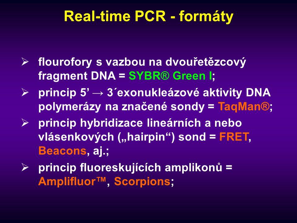 Real-time PCR - formáty  flourofory s vazbou na dvouřetězcový fragment DNA = SYBR® Green I;  princip 5' → 3´exonukleázové aktivity DNA polymerázy na