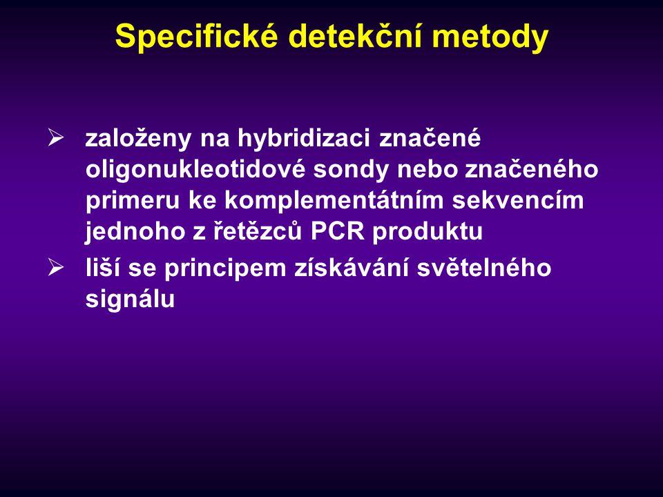 Specifické detekční metody  založeny na hybridizaci značené oligonukleotidové sondy nebo značeného primeru ke komplementátním sekvencím jednoho z řet