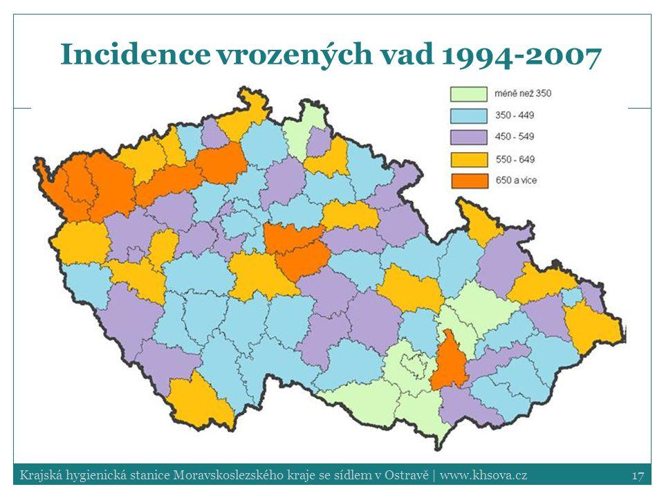 17Krajská hygienická stanice Moravskoslezského kraje se sídlem v Ostravě | www.khsova.cz Incidence vrozených vad 1994-2007